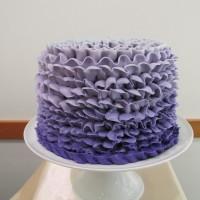 Purple Ombre Ruffled Wedding Cake