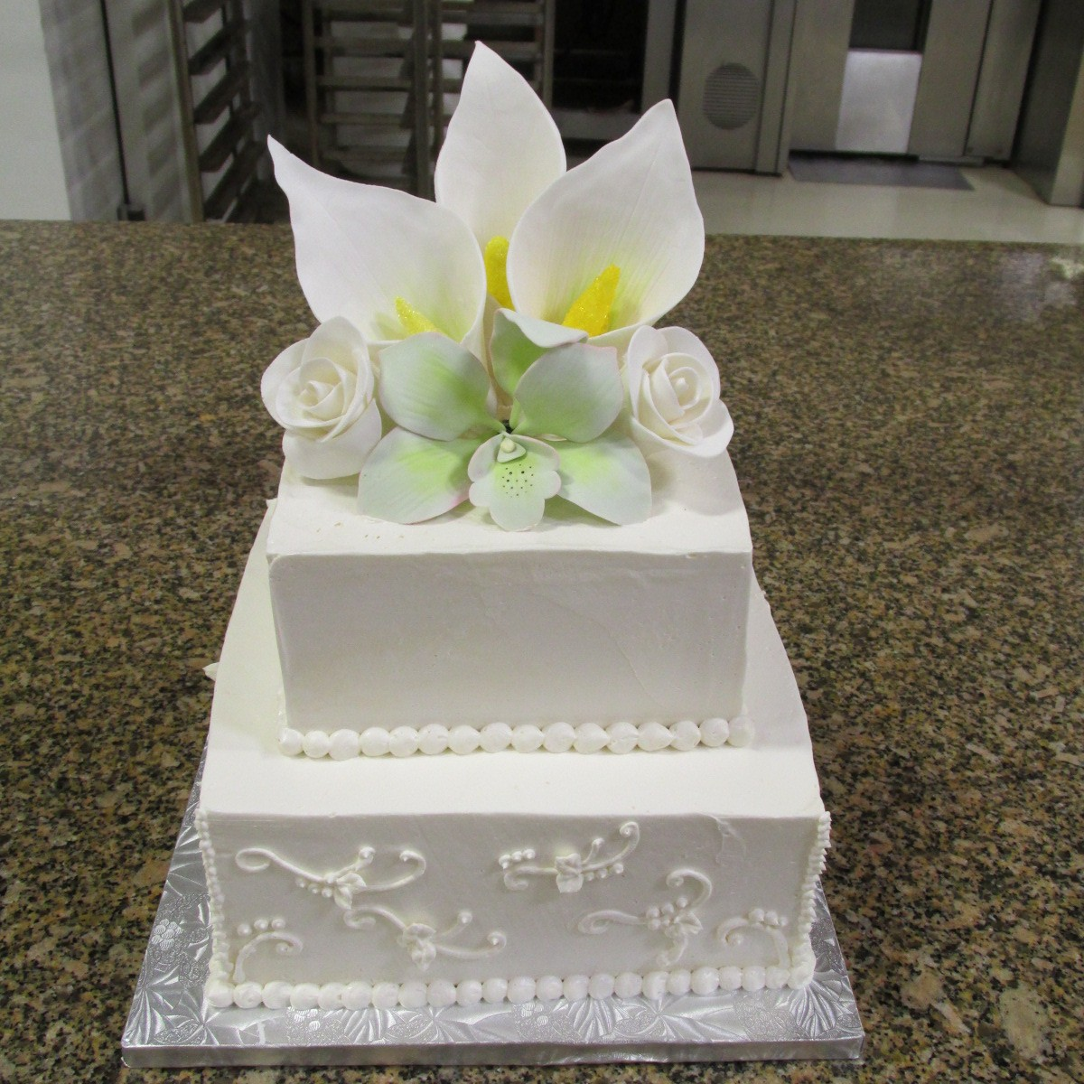 Wedding Cake with Handmade Gumpaste Flowers