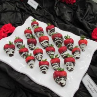 """Skinny Dippin'"" Strawberries (infused with Chambord & dipped in dark & white chocolates)"