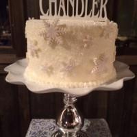 Winter Wonderland Wedding Cake at Kelley Farm with topper